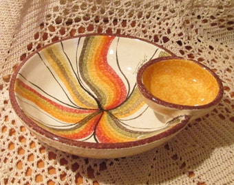 Vintage Italian Pottery Fatto A Mano Pottery Chip N Dip Serving Bowl