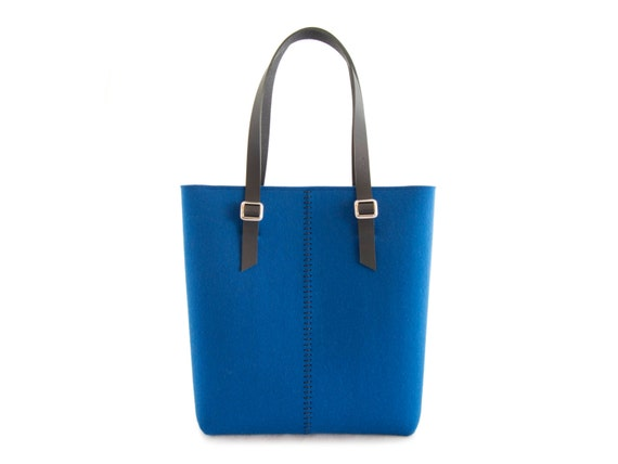 40% OFF - Felt TOTE BAG / leather straps / bright blue / felt women's bag / wool felt / made in Italy
