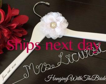 RUSH ORDER, Wedding hanger, custom wire hanger, bridal hanger, bride gift, bridesmaids gift, custom made hanger