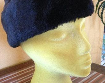 Vintage Black Faux Fur Cap Millinery Workers Int. Union Folding Hat