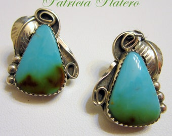 "Navajo""PATRICIA PLATERO""(RIP) Sky Horse Turquoise 925 Non-Dangle Earrings 1~1/8"""