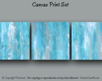 3 piece wall art, Abstract Canvas art print set, Teal blue home decor Gray, Oversized artwork Large painting, Office, Bedroom, Ready to hang