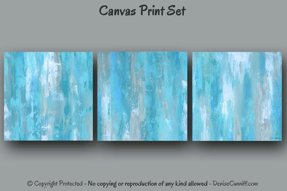 piece wall art teal blue abstract large painting multi