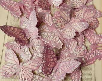 BUTTERFLY DIE CUTS Set/4 Embossed Inked Acid Free Cardstock Pink Mauve Purple Shabby Chic