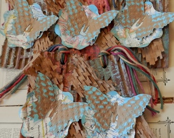 TOTALLYCUTE TRASH TAG - Repurposed postconsumer materials - Large - Blue Butterfly on Vintage Map Flower