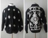 Black Gray Sweater Coat Chunky Knit Vintage 80s Heavy Southwestern Print Jacket Size S/M Small Medium Ethnic Tribal 1980s Hipster Boho Hippy