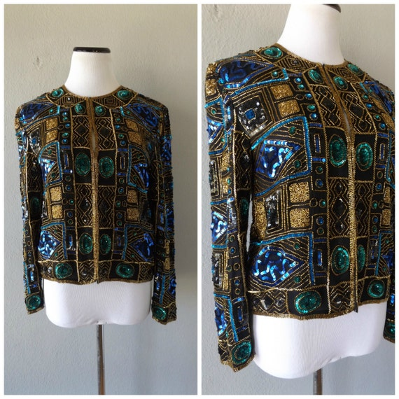 Black Beaded Sequin Jacket Vintage 80s Womens Cropped Blazer