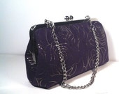 Purple Suede, Rose Prints Evening Clutch/Purse, 8x5x2.5, 20 Inches Chain Handle