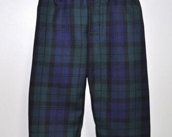 Baby Tartan Trews / Trousers in Black Watch tartan, 6m - 3yrs, Poly viscose, machine washable. Handmade in Scotland.