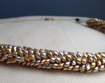Silver and Gold Magatama Kumihimo Necklace