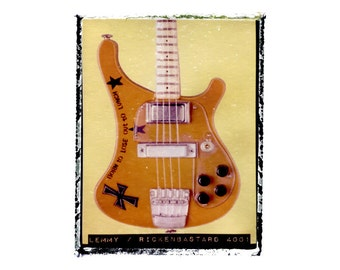 Lemmy Motorhead bass guitar art print / music gift / rock n roll art / music room decor / guitar gift / man cave art
