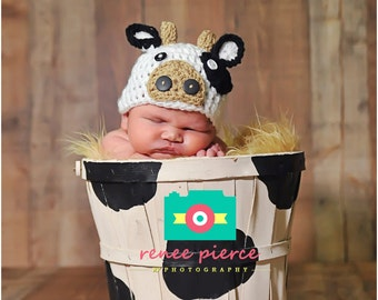 Crochet baby Hat Cow Farm Animal photo  prop newborn baby boy infant hats