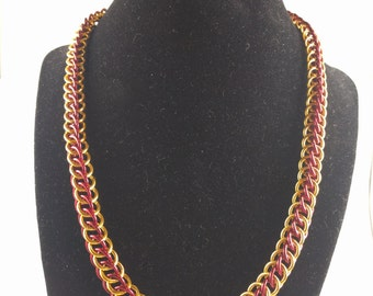 Gryffindor Red and Gold Half Persian Chainmaille Short Necklace