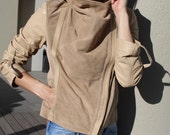 Draped Collar Suede Jacket