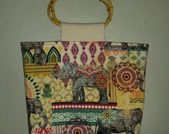 Fabulous Elephant Tote with Bamboo Handles
