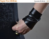 End Of Summer SALE Black Leather Cuff Bracelet - Leather Cuff Bracelet - Leather Cuff - Twisted Leather Cuff Bracelet - Leather Black Cuff
