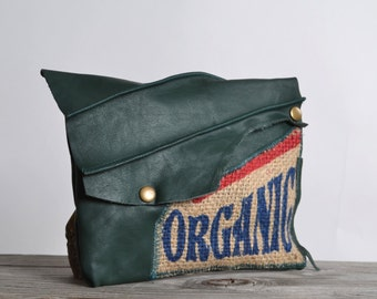 Organic Leather Clutch - Green Leather Clutch - Up-cycled Leather Clutch - Organic