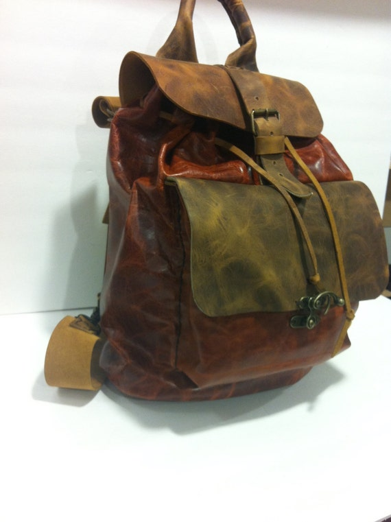 Backpack Bag/Large Vintage Backpack/Weekend Flight Backpackes/Personalized Backpack/Vintage Cognac Backpack/Many Pockets Backpack