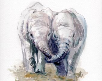 Elephants print, Baby elephants, baby shower gift, nursery gift, kids room art