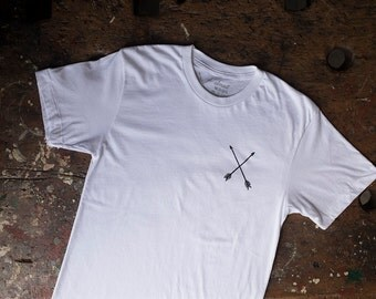 MD Quality Goods Original Crossed Arrows Logo T Shirt In White