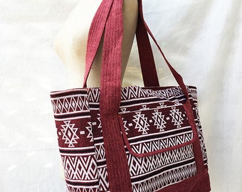 Handmade Large Weekender bag, Cotton Diaper bag, Large Diaper Bag, Tribal Sporty Bag