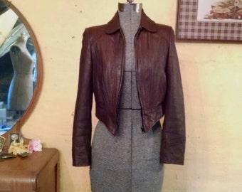 Amazing Cropped Leather Jacket S