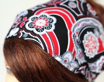 Red Black White Grey Paisley Floral Print Headband Womens Headband Bandana Headband Head Wrap Hair Accessory Womens Gift for Her Gift Ideas