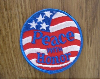 "Vintage patches from 1970's ""Peace with Honor"""