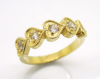 Heart ring, engagement ring, 14K Yellow gold, Half heart half smooth band, with man made diamonds