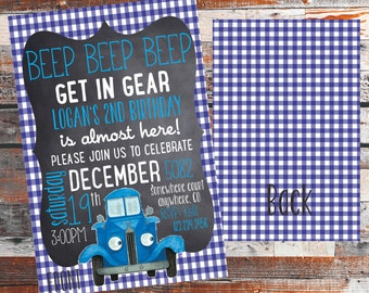 The Little Blue Truck Birthday Invitation. Blue truck party. rustic birthday invite. truck birthday. Farm animal birthday party. Front&Back