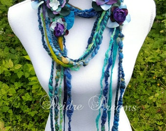 Lariat Scarf, Long Fringe Scarf, Art Yarn Scarf, Flower Garland, Boho Fashion, Eco Friendly Wear Eclectic Fashion Shabby Chic Rustic Wedding