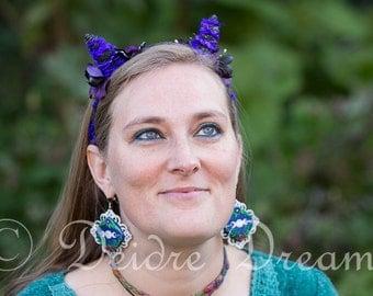 Cat Ear Headband, Devil Horn Headband, Cosplay Halloween Costume, Head Wreath, Demon Headpiece, Floral Hair Wreath Cat Costume Festival Wear