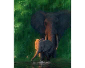 Elephant Wall Art 'Carefree Calf' by Ben Judd - African Wildlife Decor Elephant Painting on Metal or Acrylic