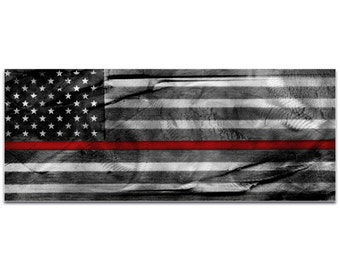 Firemen Flag 'American Glory Firefighter Tribute' by Eric Waddington - First Responders Art Firefighters Wall Decor on Metal or Acrylic