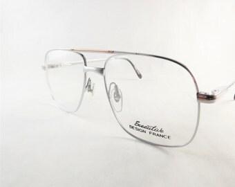 Mens Silver Glasses, Chrome Eyeglasses, Metal Eyeglasses, Vintage Square Flexible Temple Arm Frames, Silver and Gold Glasses, New Old Stock
