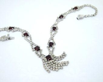 """Rhinestone Necklace / Choker - Rhinestone Tassel Necklace - Ruby Red Rhinestones - Choker Length 16.5"""" - Bridal Wedding Formal"""