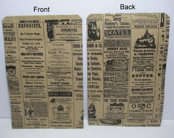 Newsprint Bag, Newsprint Paper Bag, 25 Newsprint Kraft 6x9 Paper Gift Bags, Merchandise Bags, Favor Bags, Weddings, Showers, Treats