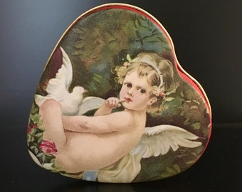 Vintage Enesco Cherub or Angel Heart Shaped with Red Trim- Tin for Keepsakes, Candy, or Jewelry