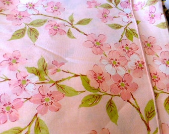 """Vintage Pink Dogwood Floral Fabric Remnant 100"""" Long by 25"""" Wide"""