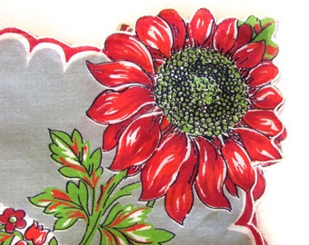 Vintage, Linen Handkerchief, Red Daisy Handkerchief, Red Black on Gray, Valentines Gift, Greeting Card Gift, Made in USA