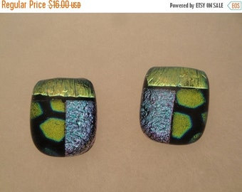 Dichroic Fused Glass Post Earrings - BHS03555