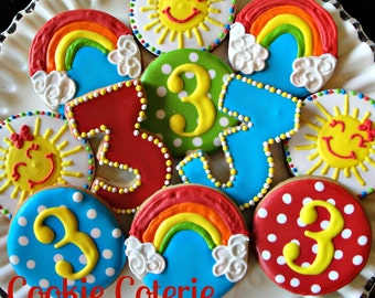Sunshine and Rainbows Decorated Cookies Birthday Party Favors One Dozen