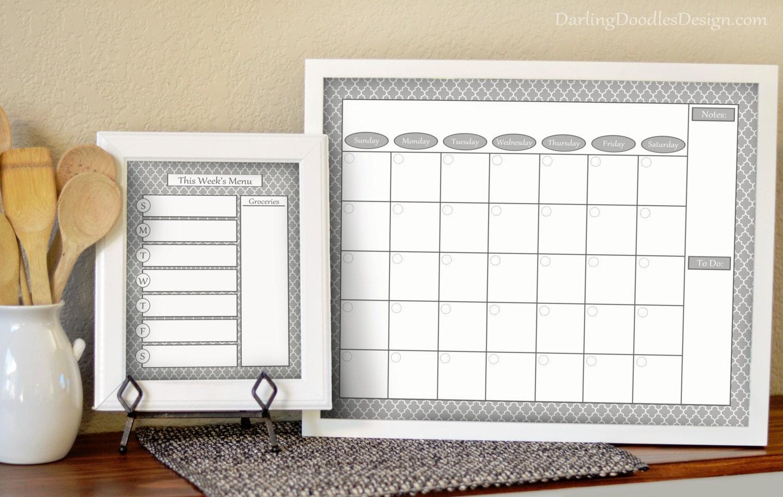 2018 Wall Calendar Weekly Meal Planner Gray Calendar