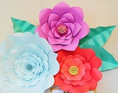 Extra large paper flowers- 3D wall flowers-wall art-backdrop- set of 3 - custom paper flowers- nursery decor