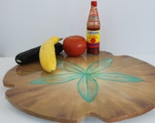 Kitchen Art, Brown and Tan, Sand dollar, Lazy Susan, Beach Centerpiece, Aqua Wedding Centerpiece, Coastal Home Artwork, Made by Janet Dineen