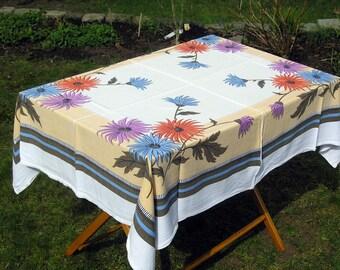 Vintage Rectangular Tablecloth, Purple, Orange Blue Flowers Tablecloth, Retro Floral Cotton Tablecloth, Vintage Table Linens