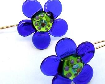 Lampwork Flower Blue Earrings, Geometric Flower Earrings, Glass Bead Jewelry, Ready to Ship !