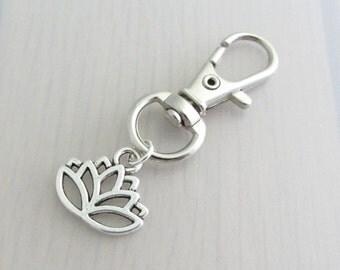 Silver Lotus Flower Charm Purse Clip, Lotus Flower Zipper Pull, Lotus Handbag Charm, Lotus Bag Charm, Flower Bag Charm