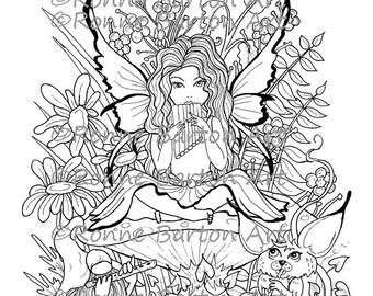 IMG043 Instant Download Digi Digital Stamp Coloring Page Sheet Printable Fairy Fantasy Advanced