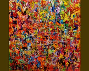 Oil painting on Canvas palette knife Contemporary colors Mixed.Only today sale